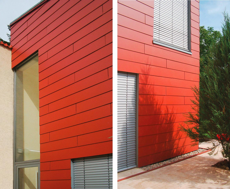 Alt und neu, Fassadendetails / Roter Kubus in Schöneiche