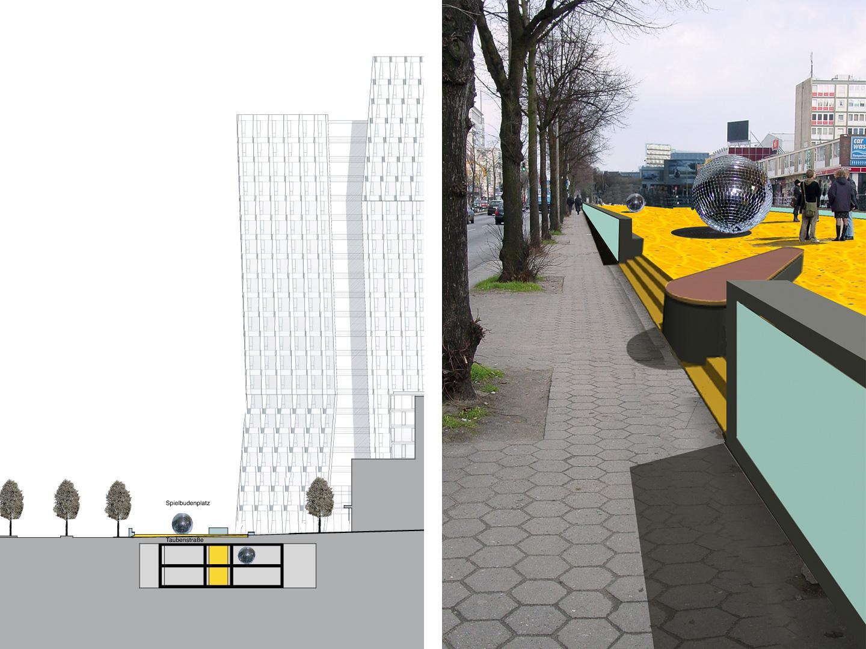 Schnitt und Kante zur Reeperbahn / Spielbudenplatz Hamburg / Offener Realisierungswettbewerb