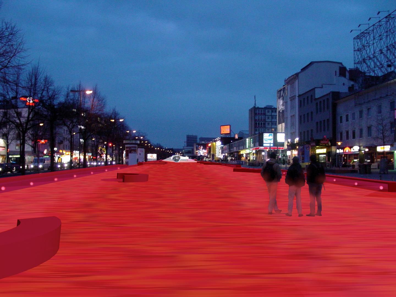 Platz bei Nacht / Spielbudenplatz Hamburg / Offener Realisierungswettbewerb