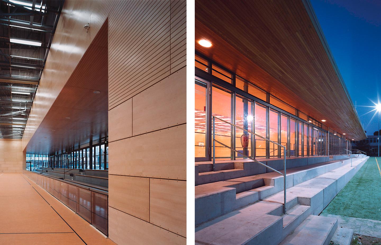 Zuschauertribüne und Außenbezüge / Schul- und Sportzentrum Timmendorf Strand