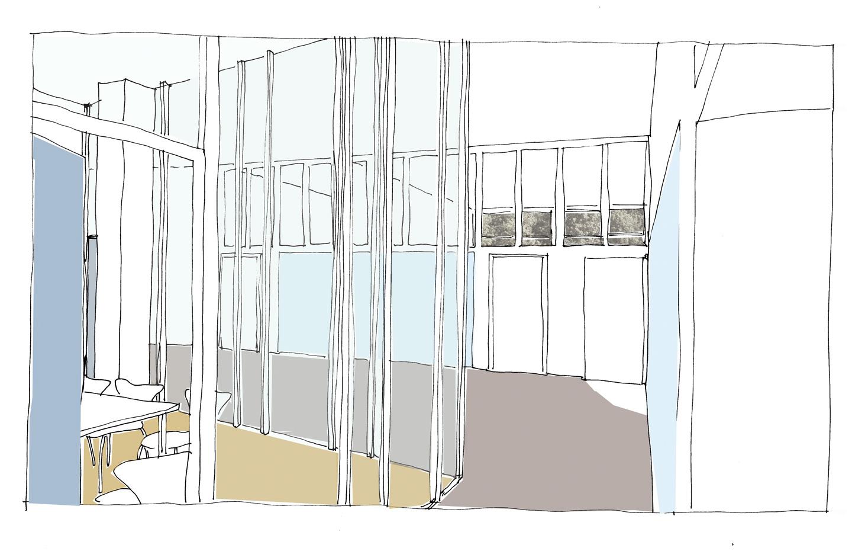 Ansicht Flur / HAU2 / Entwurf_Wettbewerb