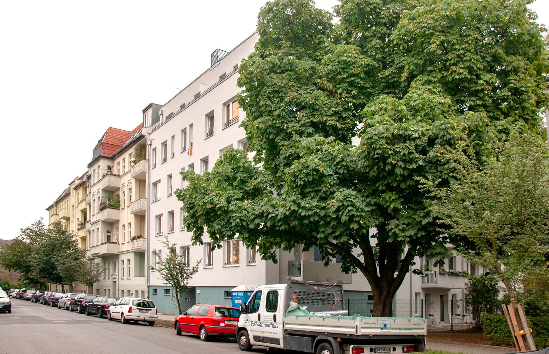 Blick entlang der Mosischstraße / M3A_Mehrfamilienhausneubau