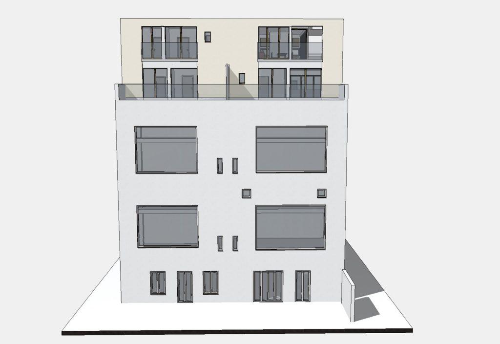 Atelierseite Frontale / Aufstockung auf Ateliergebäude / Berlin-Wilmersdorf