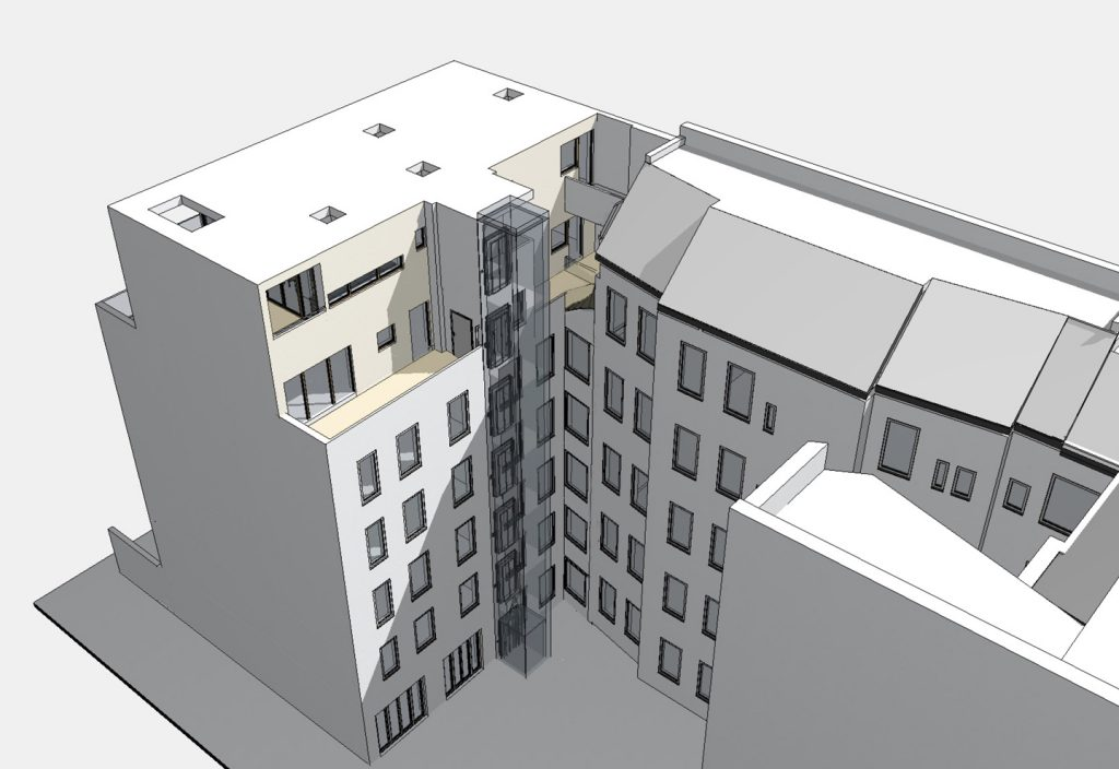 Hofseite Vogelperspektive / Aufstockung auf Ateliergebäude / Berlin-Wilmersdorf