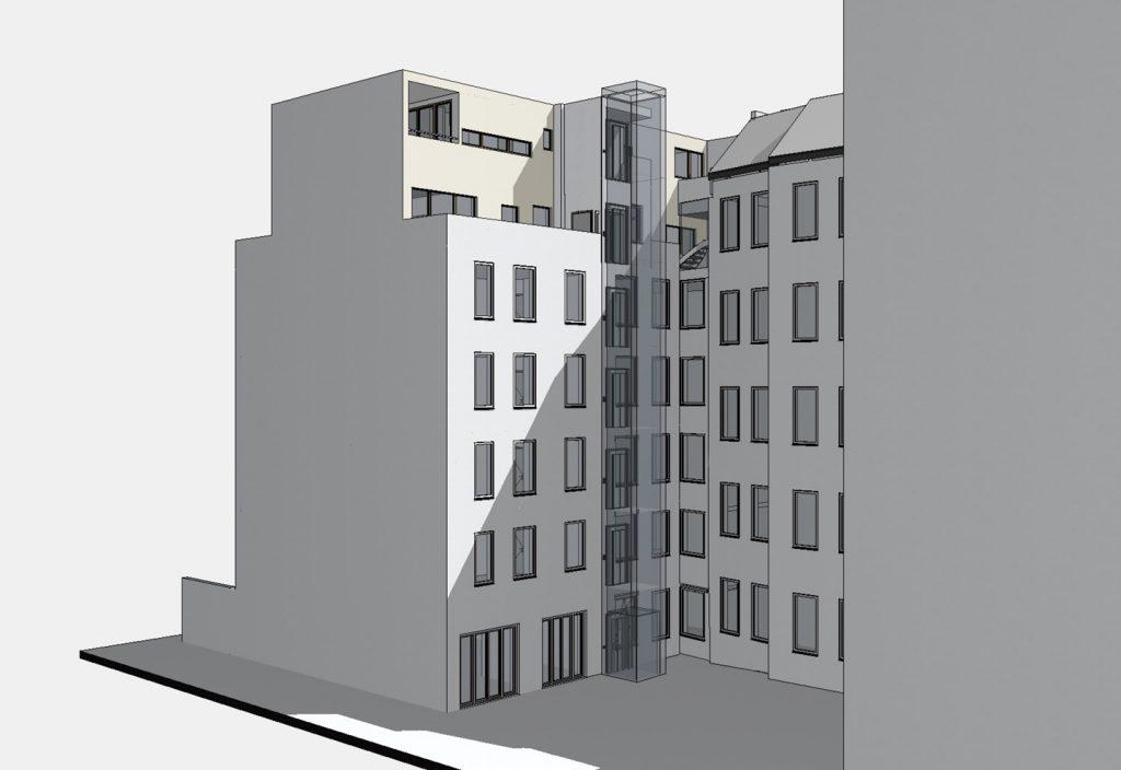Hofseite schräg / Aufstockung auf Ateliergebäude / Berlin-Wilmersdorf