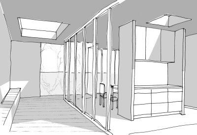 Perspektive Loggia, 6. OG / Aufstockung auf Ateliergebäude / Berlin-Wilmersdorf
