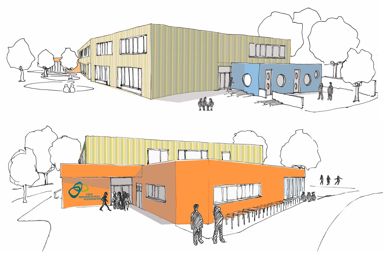 Blick von Südost (oben) und vom Haupttor (unten) / Freie Waldorfschule Kleinmachnow / Wettbewerb